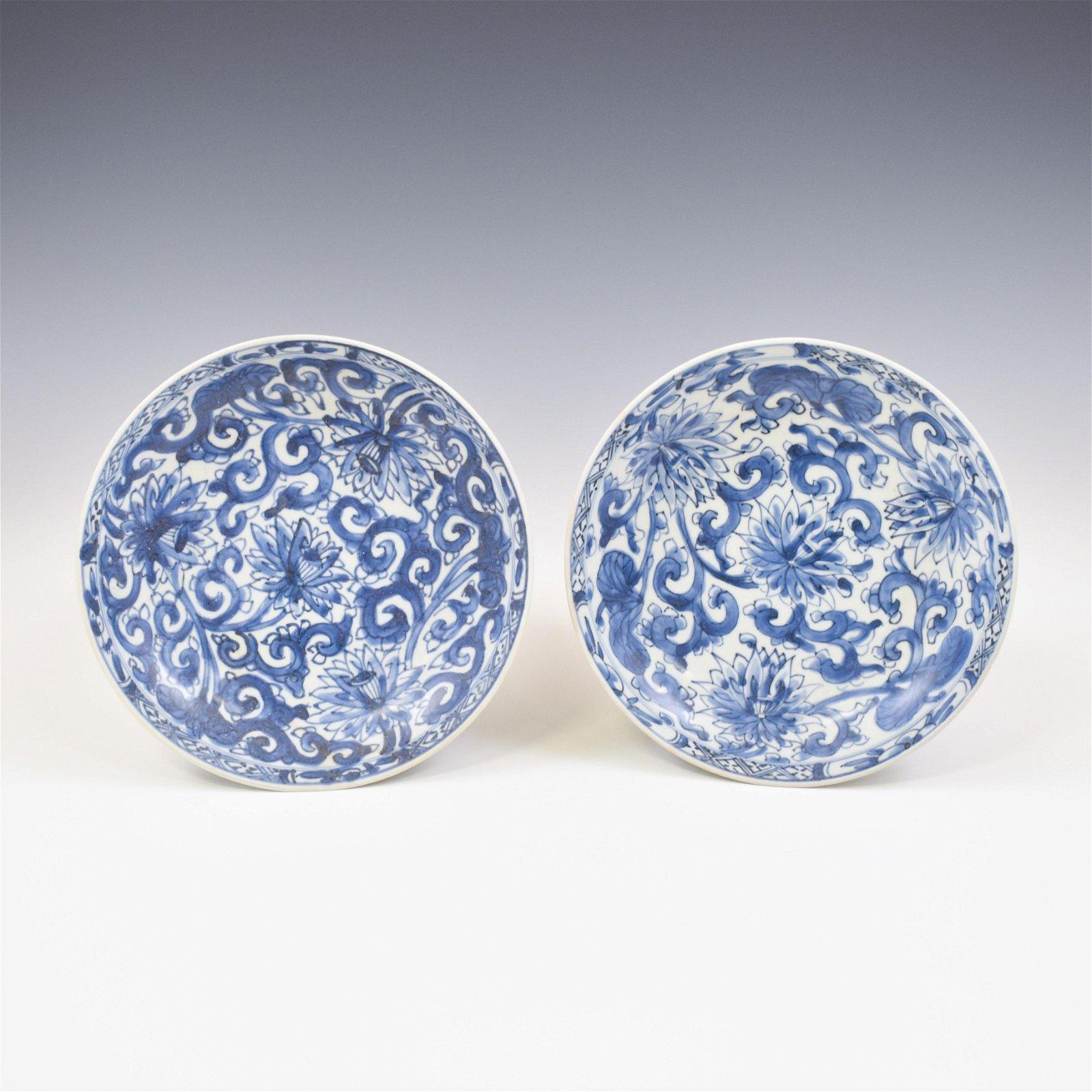 PAIR KANGXI BLUE & WHITE PLATES
