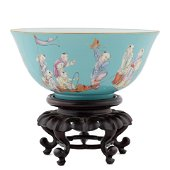 QIANLONG PEACOCK GREEN IMMORTAL BOWL ON STAND