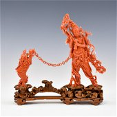 RED CORAL CARVING ON STAND