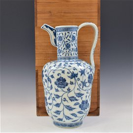 YONGLE BLUE & WHITE WRAPPED FLORAL WINE POT IN BOX