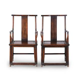 PAIR CHINESE HUANGHUALI OFFICER HAT ARM CHAIRS