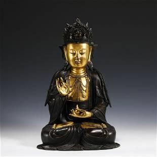 MING GILT BRONZE GUANYIN BUDDHA STATUE