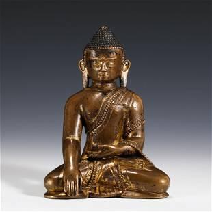 GILT BRONZE SEATED SAKYAMUNI BUDDHA