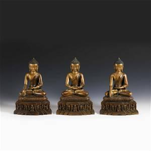 THREE QING GILT BRONZE BUDDHAS