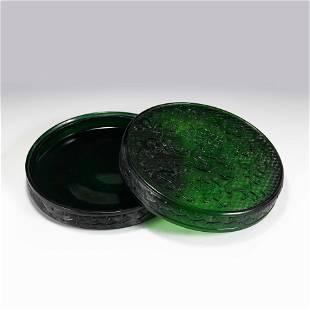 GREEN PEKING GLASS LIDDED FRUIT BOX