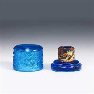 PEKING GLASS DRAGON THUMB RING IN TRINKET BOX
