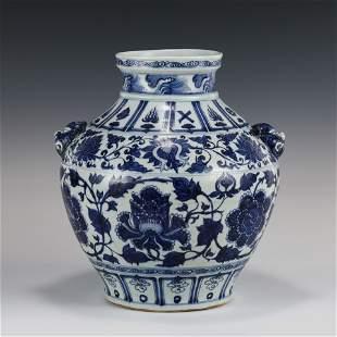 CHINESE YUAN BLUE & WHITE FLORAL MOTIF JAR