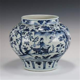YUAN BLUE & WHITE FLORAL MOTIF LARGE JAR