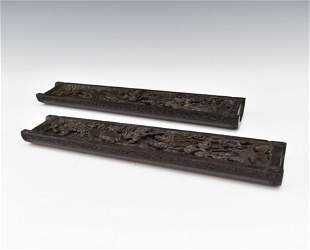 PAIR OF CHINESE CARVED ZITAN PAPER WEIGHTS, 19TH C