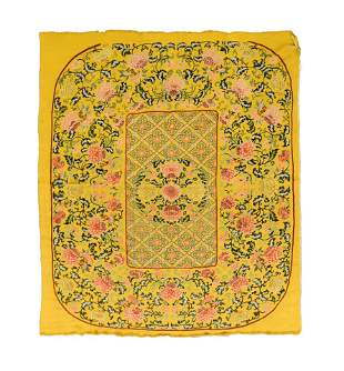 19TH C CHINESE FLORAL MOTIF EMBROIDERY SILK PANEL