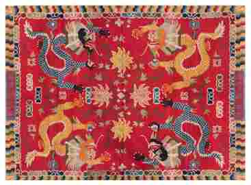 18TH/19TH C QING DYNASTY IMPERIAL DRAGONS RED WOVEN RUG