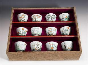 DOZEN FAMILLE ROSE BIRD & FLOWER WINE CUPS ON STAND