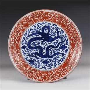 BLUE & WHITE IRON RED PLATE