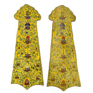 PAIR BUDDHIST BAJIXIANG EMBROIDERY SILK PANELS