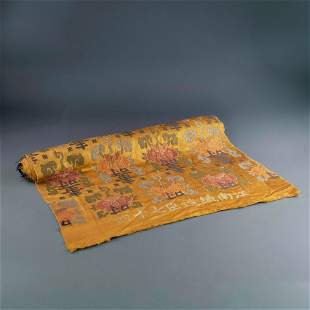 19TH C CHINESE EMBROIDERY LONGEVITY SILK ROLL
