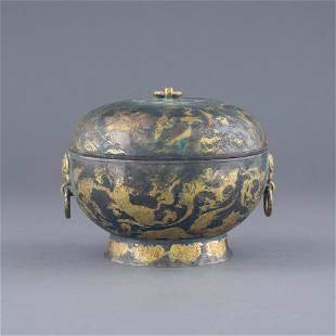 HAN DYNASTY GILT SILVER LIDDED CENSER