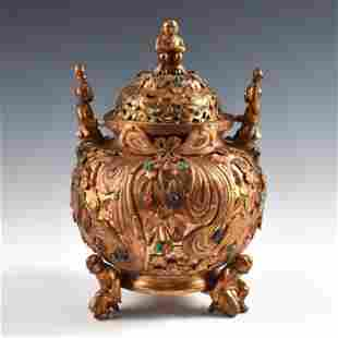GILT BRONZE & STONES INLAID LIDDED TRIPOD CENSER