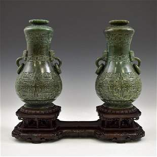 PAIR CHINESE GREEN JADE VASES ON STAND