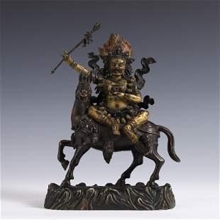 MING GILT BRONZE BUDDHA DEITY MAHAKALA
