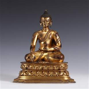 QING GILT BRONZE SEATED SHAKYAMUNI BUDDHA