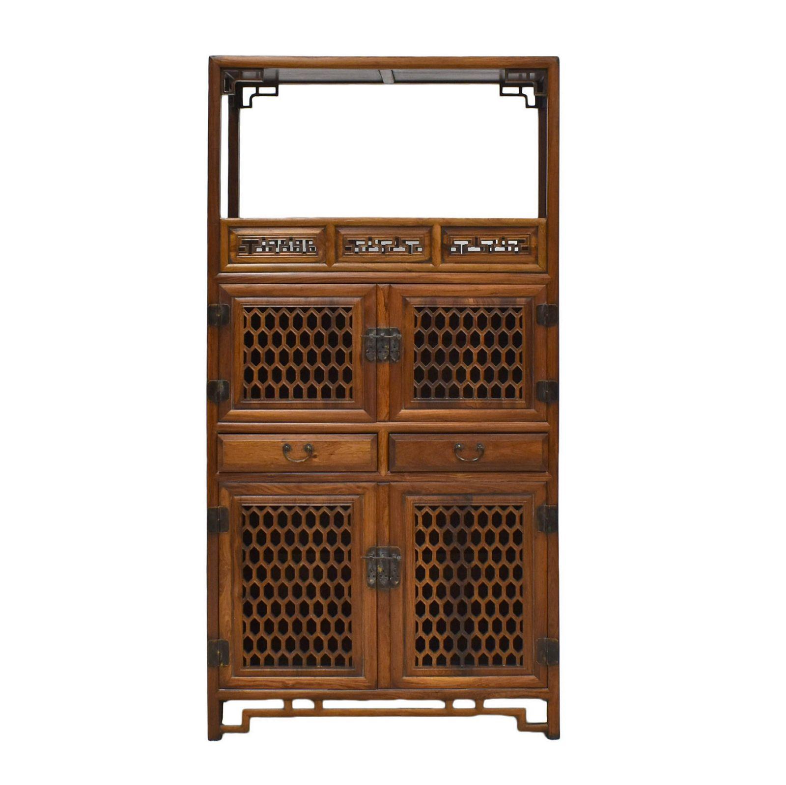 ANTIQUE HUANGHUALI OPEN SHELF 4 DOORS CABINET
