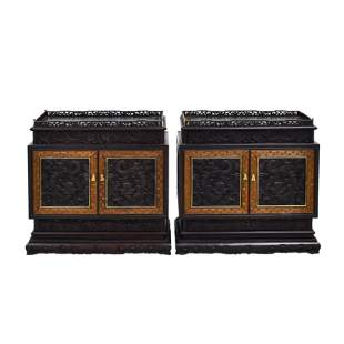 PAIR ZITAN CARVED DOUBLE DOORS CABINETS