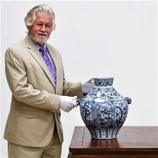 YUAN BLUE & WHITE DUCK & FLORAL ZUN JAR