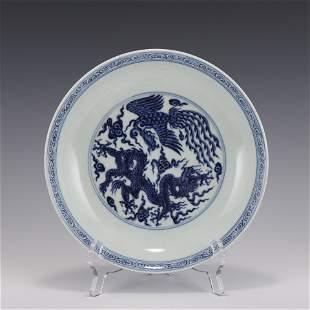 BLUE & WHITE DRAGON PHOENIX PLATE