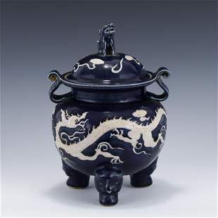 YUAN REVERSED BLUE DRAGON LIDDED PORCELAIN TRIPOD