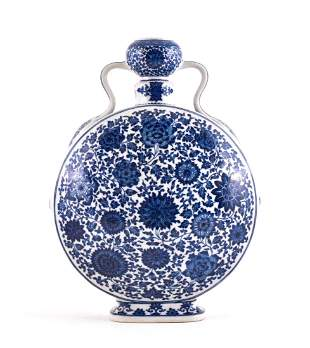LOTUS BLUE AND WHITE MOON FLASK, QIANLONG MARK