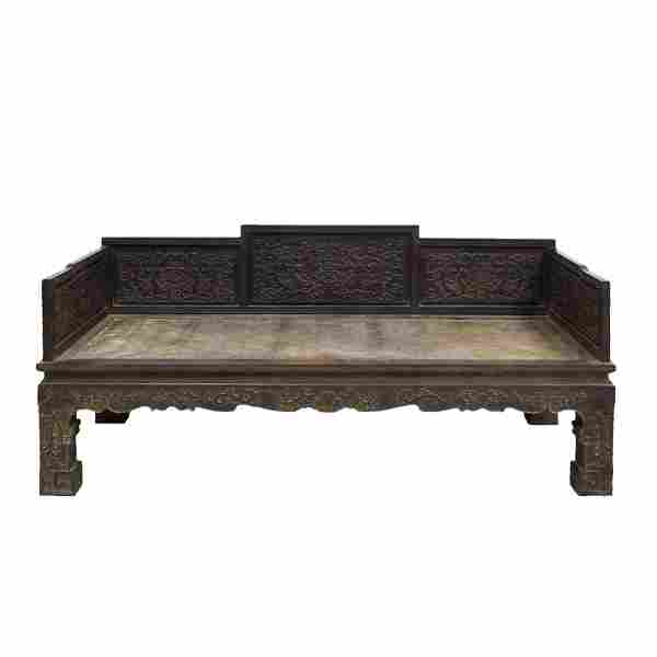 CHINESE ZITAN CARVED ARHAT DAY BED