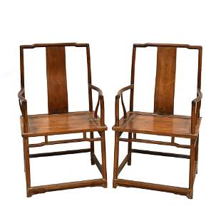 CHINESE HUANGHUALI SOUTHERN OFFICER HAT ARM CHAIRS