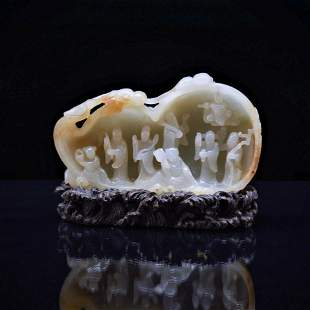 EIGHT IMMORTALS GROTTO CARVED JADE ON STAND
