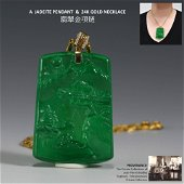 JADEITE PENDANT AND 24K GOLD NECKLACE