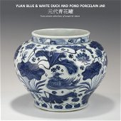 YUAN BLUE & WHITE DUCK & POND JAR