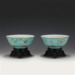 PAIR YONGZHENG FAMILLE ROSE BOWLS ON STAND