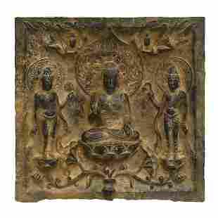 TANG STONE CARVED TSATSA BUDDHA RELIEFS
