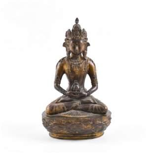 MING MAGNIFICENT GILT BRONZE BUDDHA