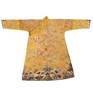 QING FOUR DRAGONS IMPERIAL SILK ROBE