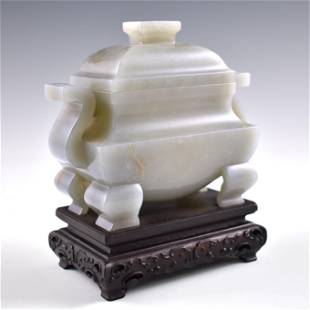 CHINESE JADE FANGDING CENSER ON STAND