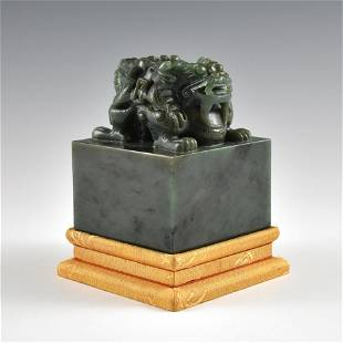 DOUBLE HEADED DRAGON GREEN JADE SEAL ON STAND