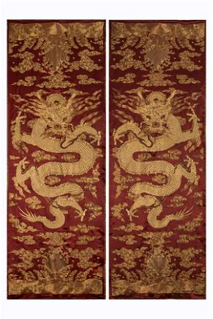 PAIR CHINESE EMBROIDERY GOLDEN DRAGON SILK PANELS