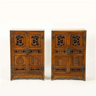 PAIR ANTIQUE OPEN-WORKS CARVED HUANGHUALI DOUBLE DOORS