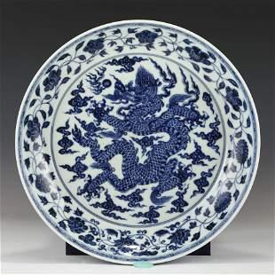 MING BLUE & WHITE DRAGON PLATE
