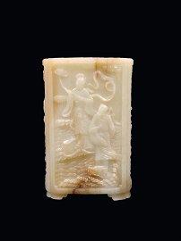 Rare Extraordinary Chinese 19th c. Jade Bush Pot
