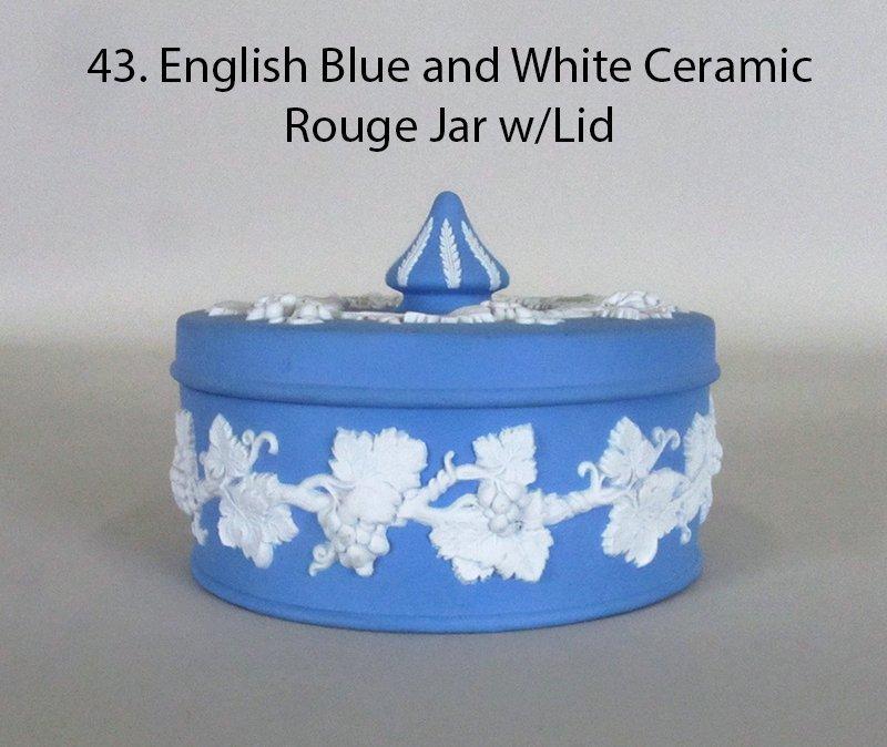 WEDGEWOOD  Jasperware Blue  Ceramic Rouge Jar with Lid