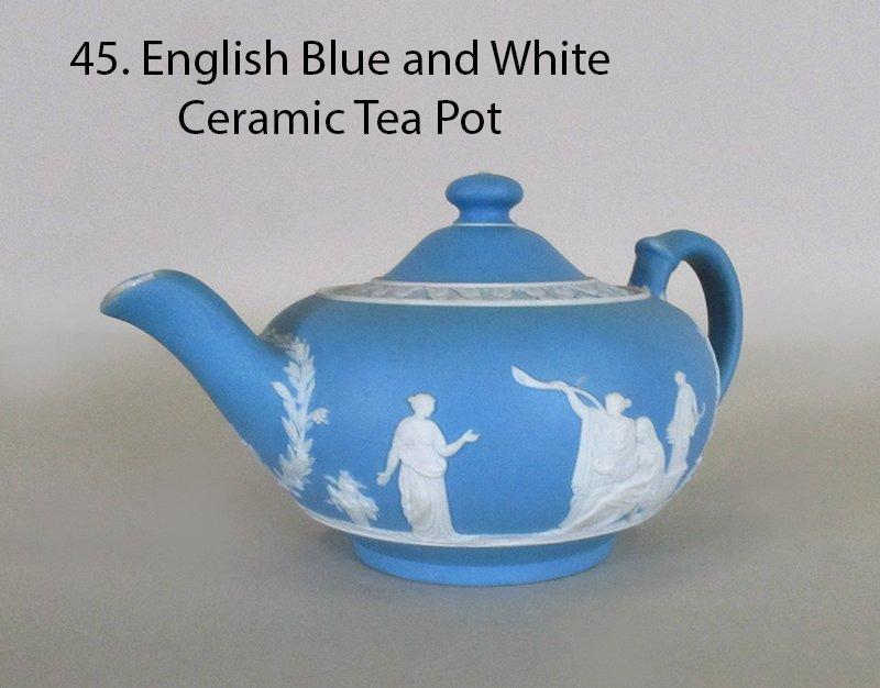 WEDGEWOOD  Jasperware Blue and White Ceramic Tea Pot
