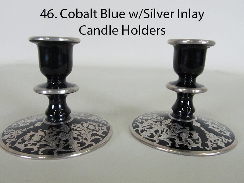 Cobalt Blue w/Silver Inlay Candle Holders
