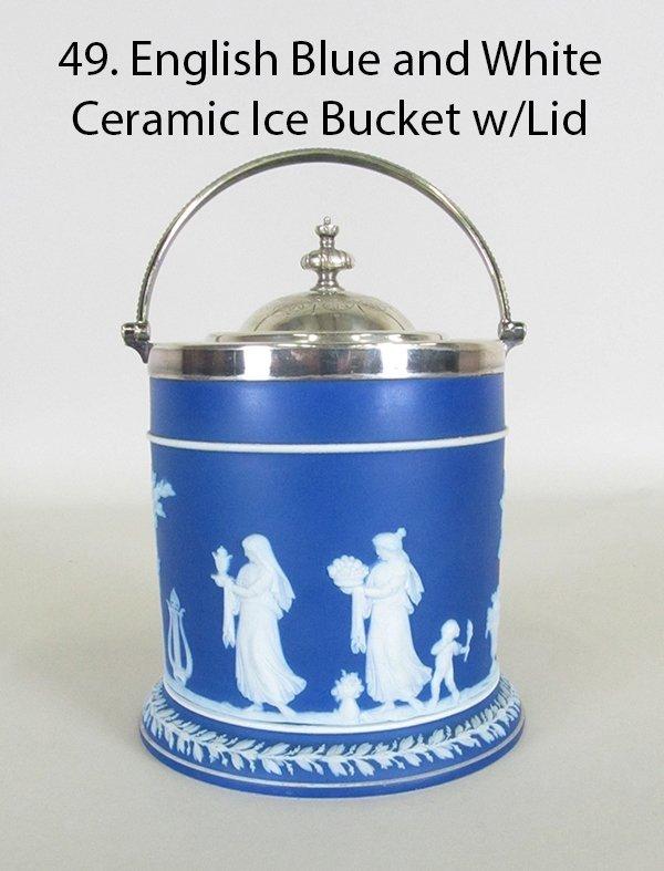 Wedgewood Jasperware Blue and White  Ice Bucket w/Lid