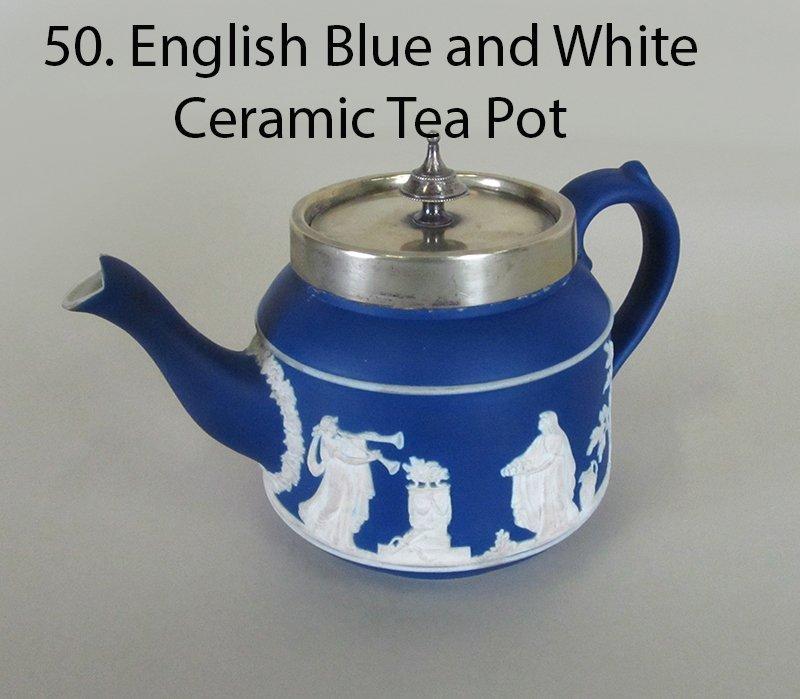 Wedgewood Jasperware Blue and White Tea Pot